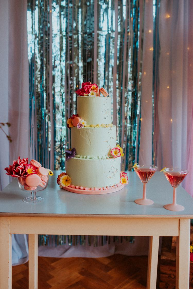 Buttercream Cake Table Cocktails Sprinkles Maracrons Flowers Retro Kitsch Pastel Mint Pink Wedding Ideas http://www.beckyryanphotography.co.uk/
