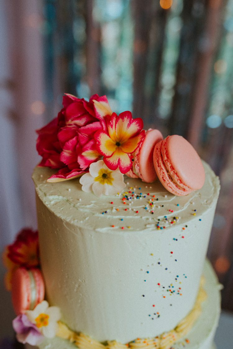 Buttercream Sprinkles Maracron Cake Retro Kitsch Pastel Mint Pink Wedding Ideas http://www.beckyryanphotography.co.uk/