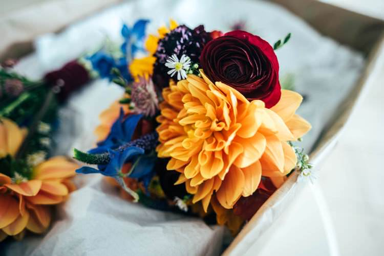 Bouquets Dahlia Rose Colourful Hand Made Rustic Barn Flower Filled Wedding http://www.threeflowersphotography.co.uk/