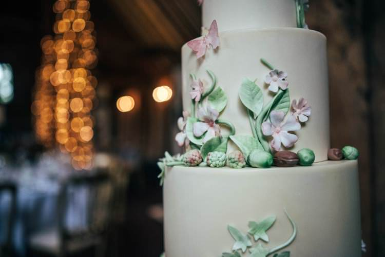 Woodland Cake Flowers Leaves Colourful Hand Made Rustic Barn Flower Filled Wedding http://www.threeflowersphotography.co.uk/