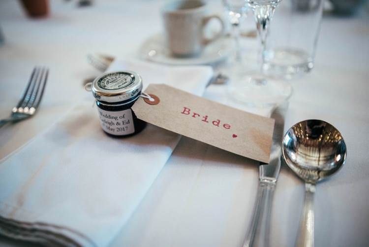 Jam Favour Luggage Tag Names Setting Colourful Hand Made Rustic Barn Flower Filled Wedding http://www.threeflowersphotography.co.uk/