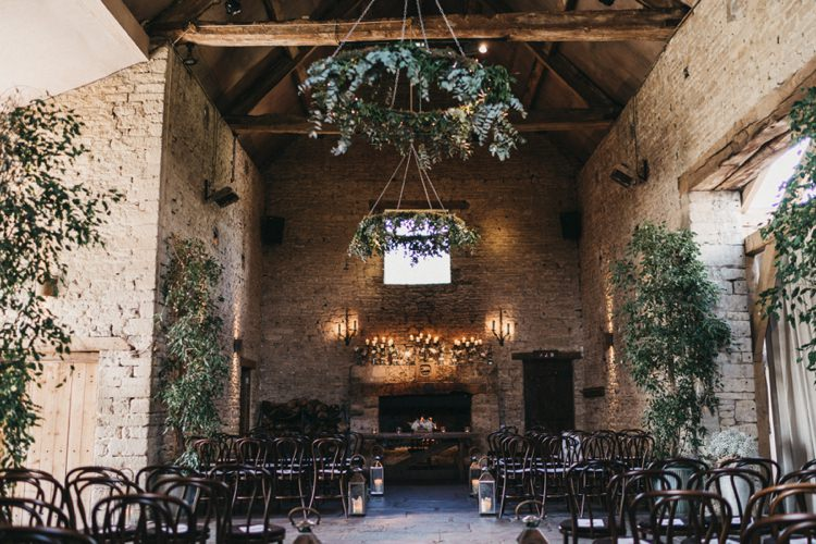Greenery Foliage Hanging Trees Decor Cripps Cotswolds Eclectic Cool Glam Barn Wedding http://luciusfoxphotography.com/ http://www.stevebridgwoodphotography.co.uk/