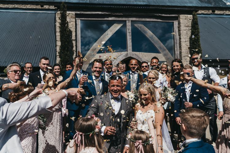Confetti Throw Eclectic Cool Glam Barn Wedding http://luciusfoxphotography.com/ http://www.stevebridgwoodphotography.co.uk/