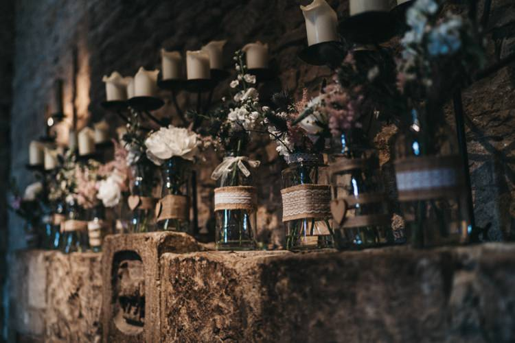 Jar Flowers Hessian Lace Eclectic Cool Glam Barn Wedding http://luciusfoxphotography.com/ http://www.stevebridgwoodphotography.co.uk/