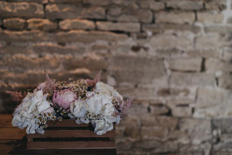 Crate Flowers Peony Hydrangea Eclectic Cool Glam Barn Wedding http://luciusfoxphotography.com/ http://www.stevebridgwoodphotography.co.uk/