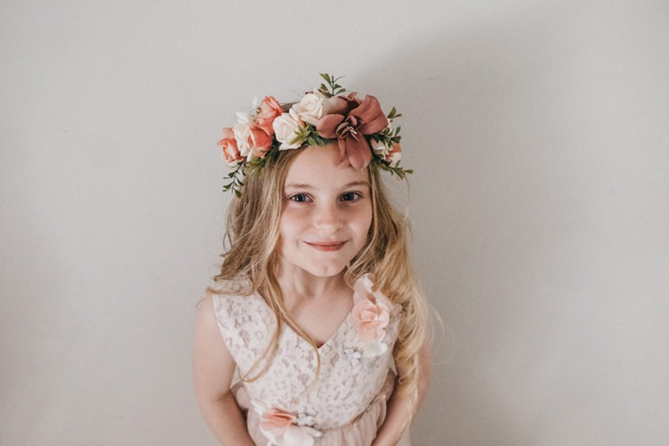 Flower Girl Crown Hair Eclectic Cool Glam Barn Wedding http://luciusfoxphotography.com/ http://www.stevebridgwoodphotography.co.uk/