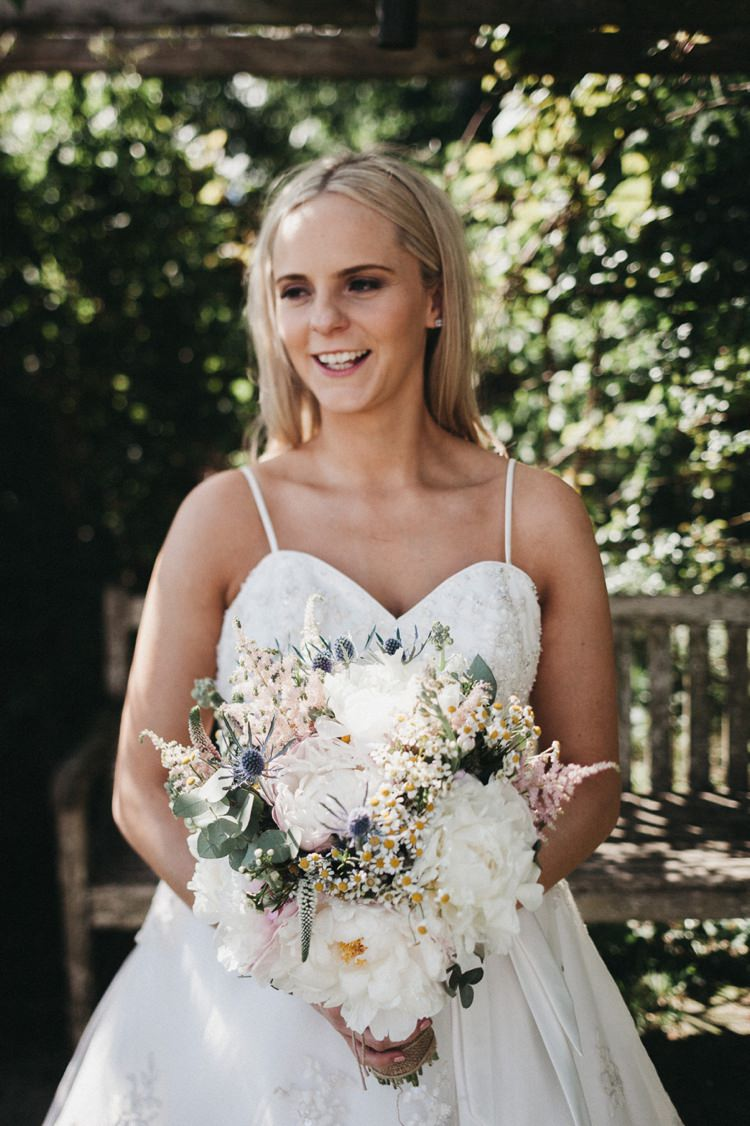 Bride Bridal Bouquet Flowers Thistle Peony Daisy Astilbe Pink White Eclectic Cool Glam Barn Wedding http://luciusfoxphotography.com/ http://www.stevebridgwoodphotography.co.uk/