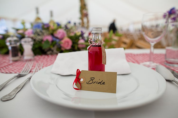 Place Name Luggage Tag Setting Mini Bottle Favours Country Rustic Picnic Marquee Wedding https://www.binkynixon.com/