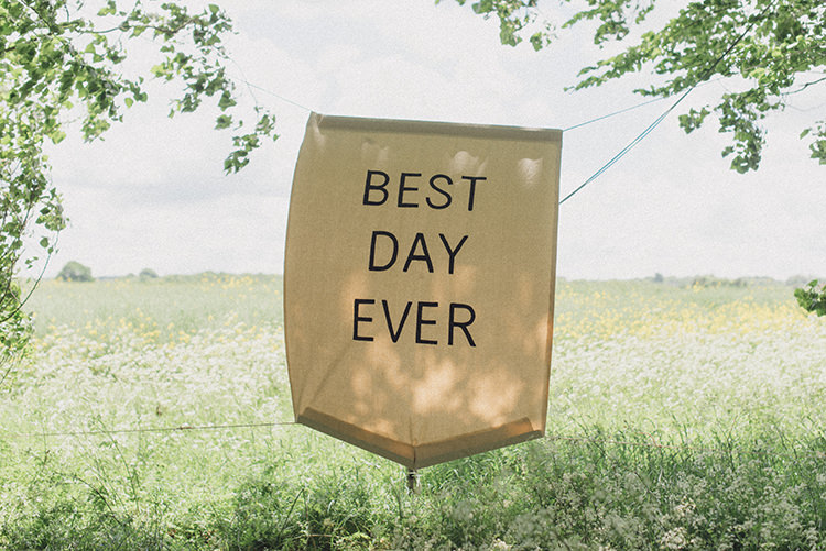 Best Day Ever Banner Sign Decor DIY Rustic Woodland Marquee Wedding http://www.rebeccadouglas.co.uk/