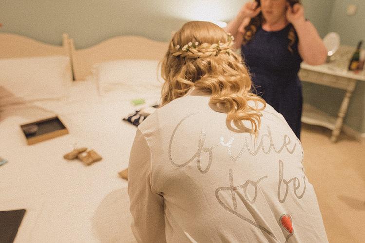 Bride Bridal Dressing Gown DIY Rustic Woodland Marquee Wedding http://www.rebeccadouglas.co.uk/