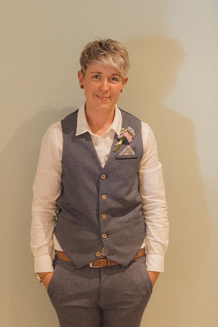 Bride Bridal Waistcoat Trousers Blue Grey Buttonhole DIY Rustic Woodland Marquee Wedding http://www.rebeccadouglas.co.uk/