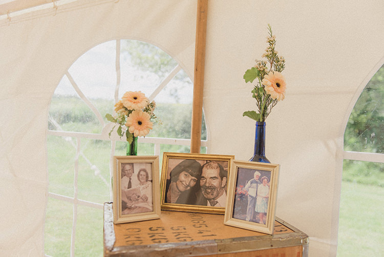Family Photos Photograph Table DIY Rustic Woodland Marquee Wedding http://www.rebeccadouglas.co.uk/