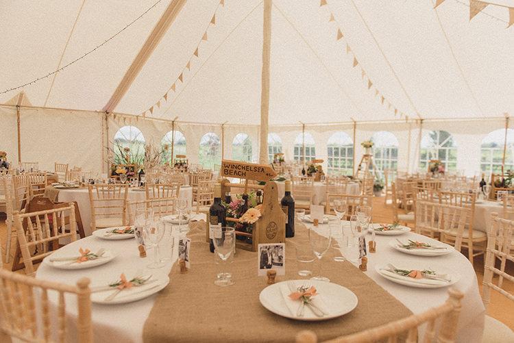 Bunting Decor DIY Rustic Woodland Marquee Wedding http://www.rebeccadouglas.co.uk/