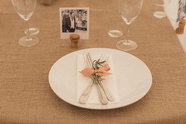 Place Setting Hessian Decor Ribbon Rosemary DIY Rustic Woodland Marquee Wedding http://www.rebeccadouglas.co.uk/