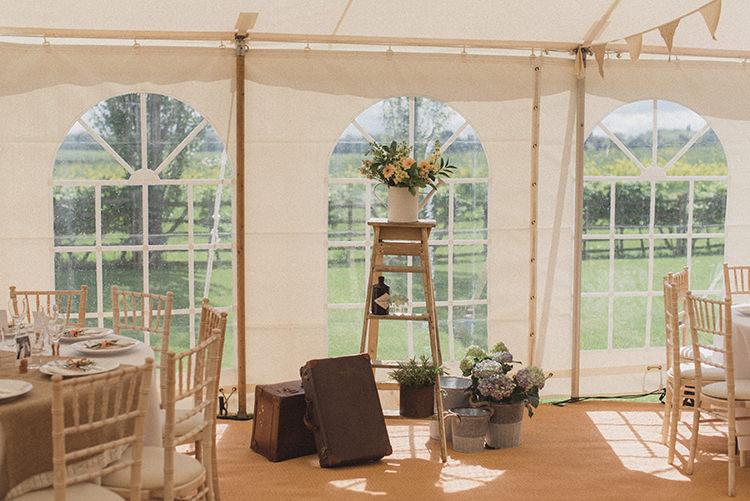 Ladder Suitcase Decor Flowers Pot Plants DIY Rustic Woodland Marquee Wedding http://www.rebeccadouglas.co.uk/
