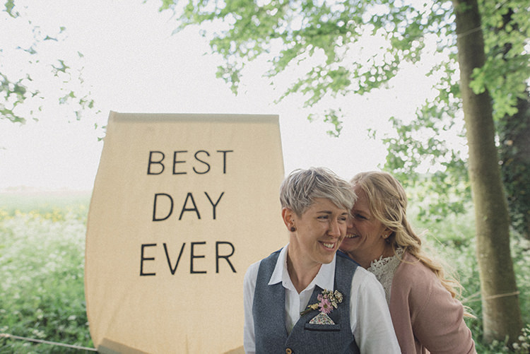 Best Day Ever Banner DIY Rustic Woodland Marquee Wedding http://www.rebeccadouglas.co.uk/