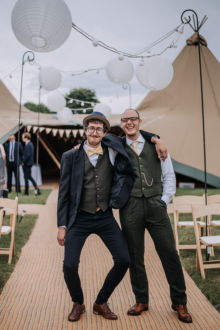 Green Suit Groom Groomsmen Waistcoat Yellow Tie Tan Shoes Bow DIY Outdoor Tipi Vineyard Wedding http://www.kazooieloki.co.uk/