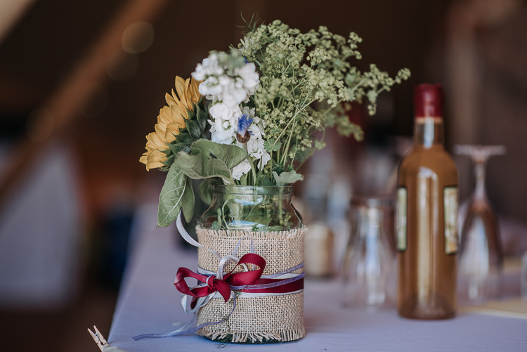 Flowers Jar Hessian Ribbon DIY Outdoor Tipi Vineyard Wedding http://www.kazooieloki.co.uk/