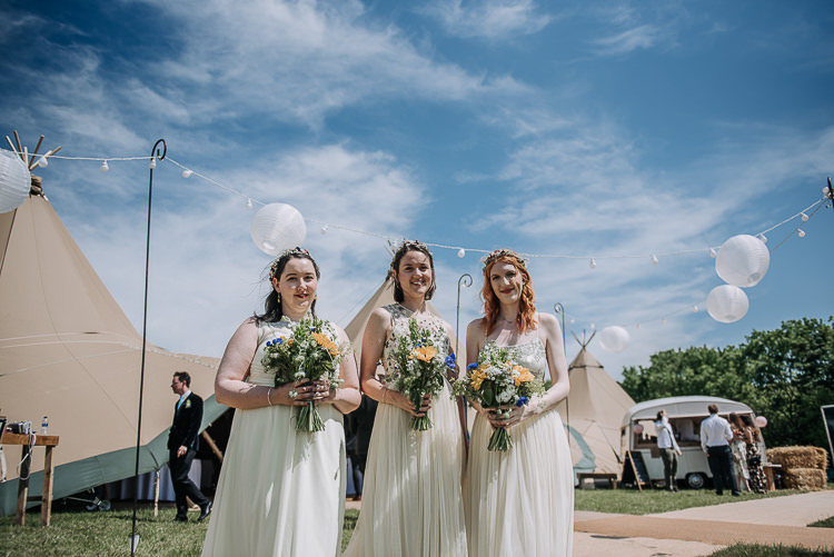 Mismatched Yellow Bridesmaids Flower Crowns DIY Outdoor Tipi Vineyard Wedding http://www.kazooieloki.co.uk/