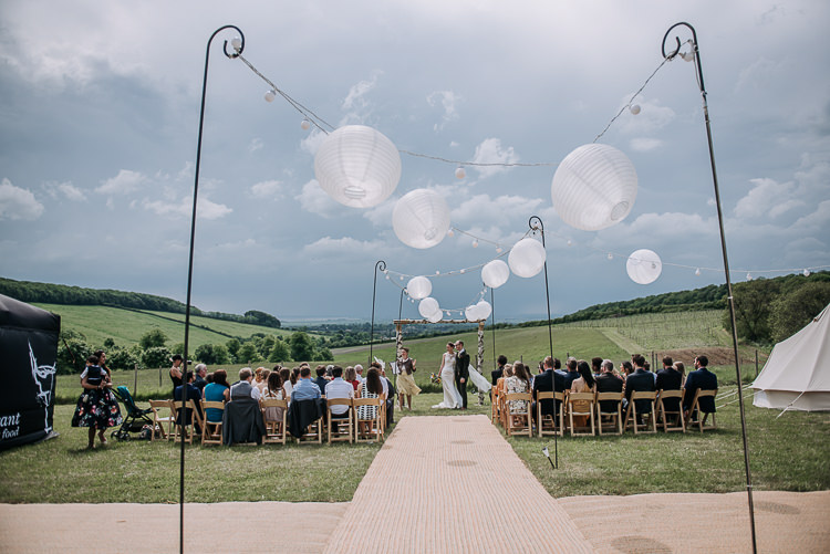 Lanterns Fairylights Aisle UK DIY Outdoor Tipi Vineyard Wedding http://www.kazooieloki.co.uk/