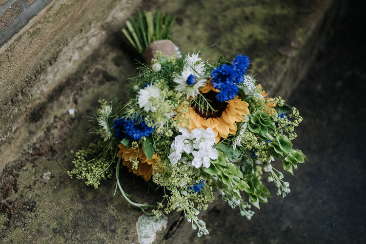 Sunflower Cornflower Stocks Nigella Greenery Bouquet Flowers Bride Bridal Blue Yellow DIY Outdoor Tipi Vineyard Wedding http://www.kazooieloki.co.uk/