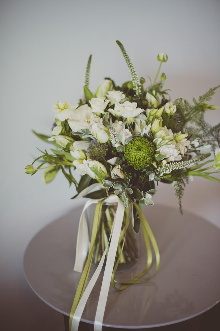 White Green Greenery Foliage Bouquet Flowers Ribbon Bride Bridal Rose Urban Industrial Chic Warehouse Wedding http://sashaweddings.co.uk/