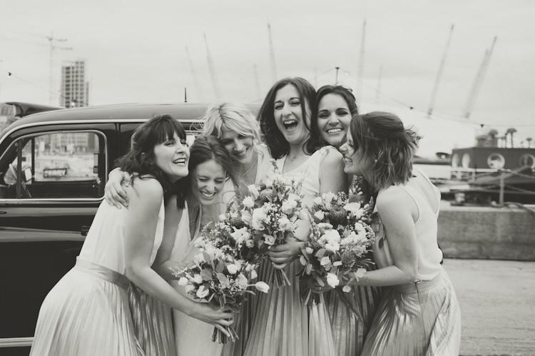 Bridesmaids Skirts Tops Girls Fun Friends Urban Industrial Chic Warehouse Wedding http://sashaweddings.co.uk/