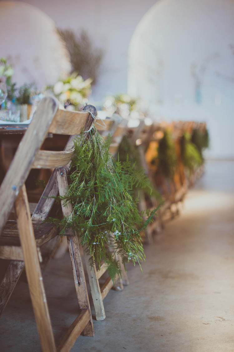 Greenery Foliage Chairs Wooden Rustic Decor Urban Industrial Chic Warehouse Wedding http://sashaweddings.co.uk/