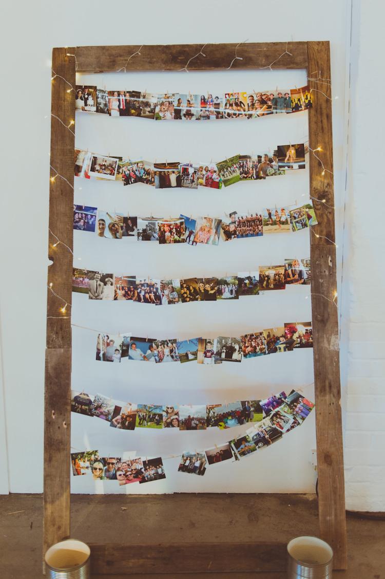 Photo Wall Display Urban Industrial Chic Warehouse Wedding http://sashaweddings.co.uk/