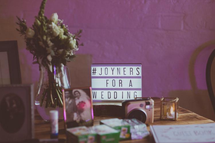 Light Box Sign Urban Industrial Chic Warehouse Wedding http://sashaweddings.co.uk/