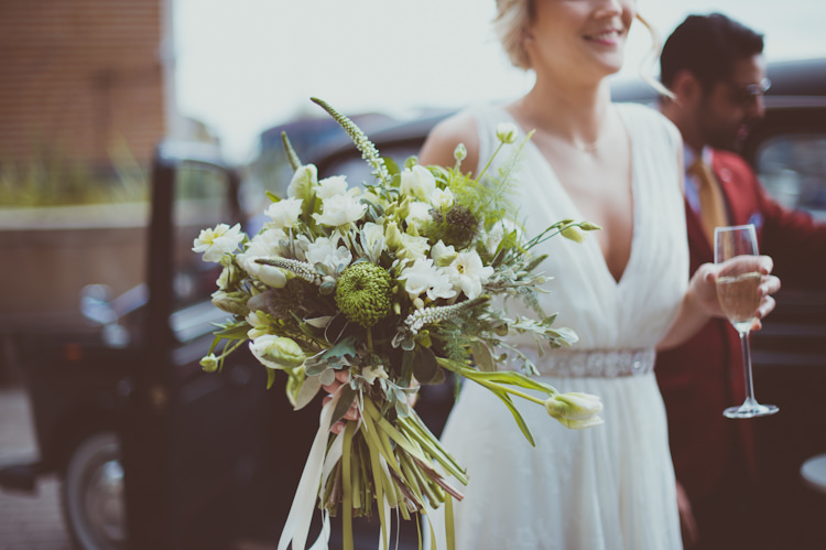 White Green Greenery Foliage Bouquet Flowers Ribbon Bride Bridal Urban Industrial Chic Warehouse Wedding http://sashaweddings.co.uk/