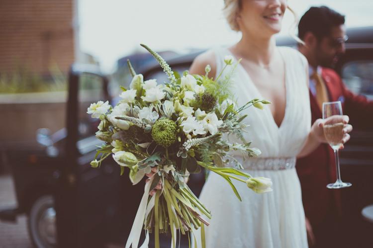 White Green Greenery Foliage Bouquet Flowers Ribbon Bride Bridal Urban Industrial Chic Warehouse Wedding http://sashaweddings.co.uk/