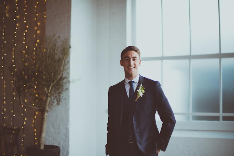 Reiss Suit Groom Urban Industrial Chic Warehouse Wedding http://sashaweddings.co.uk/