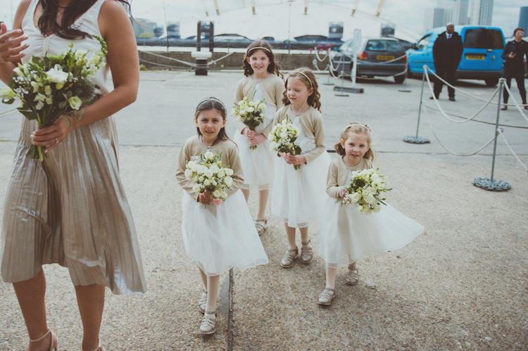 Flower Girls White Dress Cardigans Urban Industrial Chic Warehouse Wedding http://sashaweddings.co.uk/