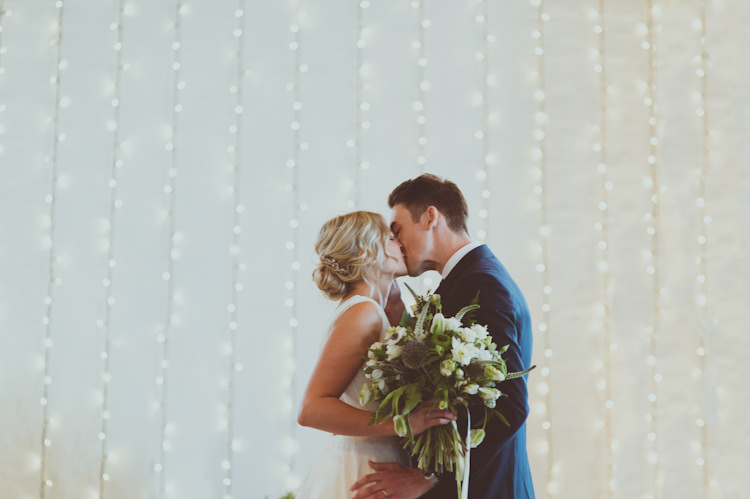 Fairy Light Curtain Ceremony Urban Industrial Chic Warehouse Wedding http://sashaweddings.co.uk/