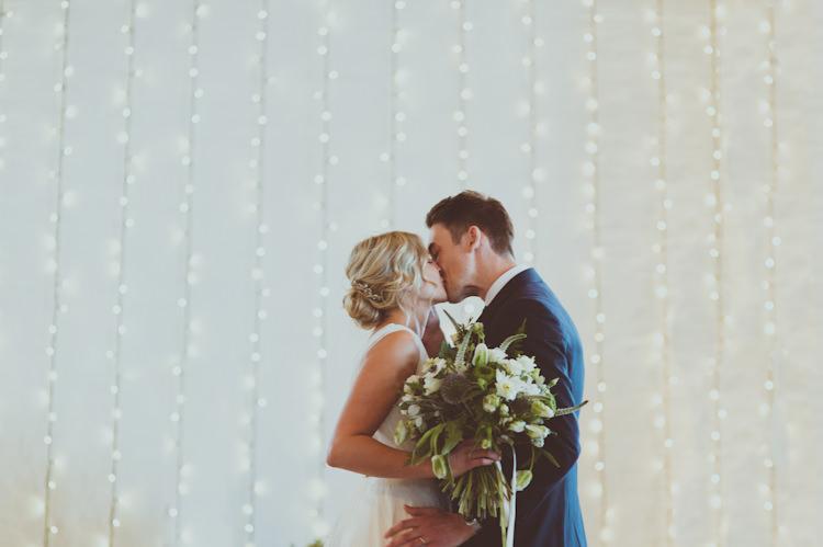Fairy Light Curtain Ceremony Urban Industrial Chic Warehouse Wedding http://sashaweddings.co.uk/