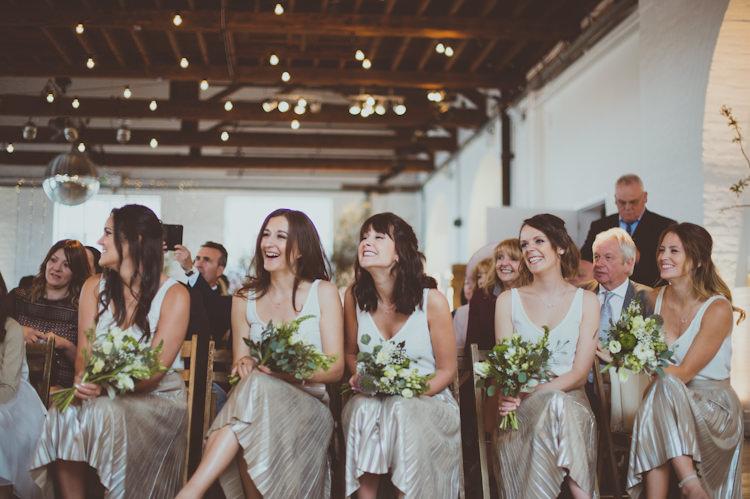 Bridesmaids Skirts Tops Silver Urban Industrial Chic Warehouse Wedding http://sashaweddings.co.uk/