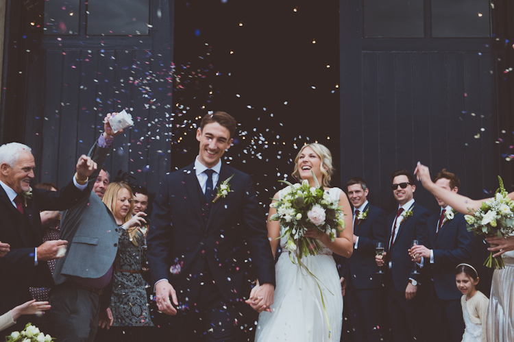Confetti Throw Bride Groom Urban Industrial Chic Warehouse Wedding http://sashaweddings.co.uk/