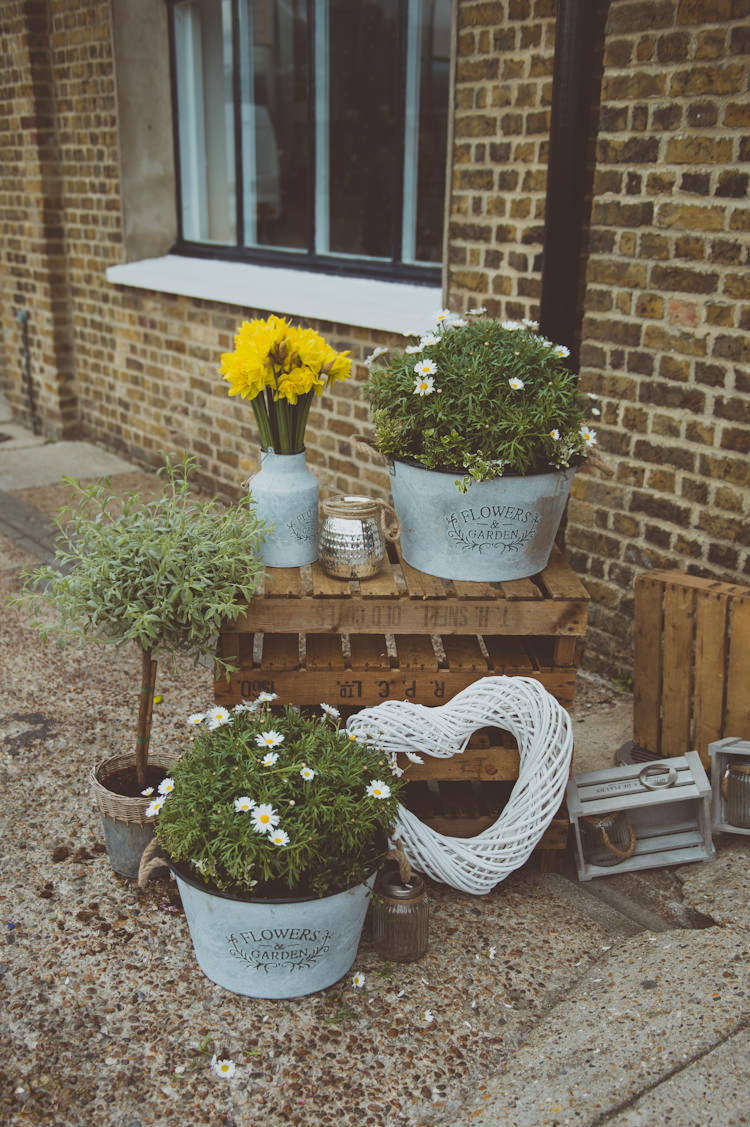 Crates Flowers Potted Plants Decor Urban Industrial Chic Warehouse Wedding http://sashaweddings.co.uk/