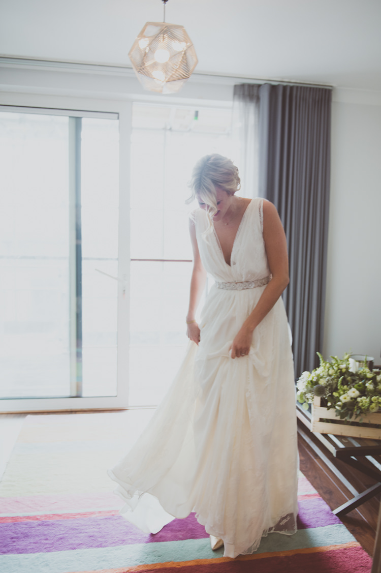 Charlie Brear Ventoux Dress Lace Gown Bride Bridal Straps Belt Urban Industrial Chic Warehouse Wedding http://sashaweddings.co.uk/