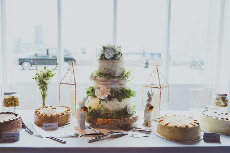 Naked Bare Cake Table Log Dessert Urban Industrial Chic Warehouse Wedding http://sashaweddings.co.uk/