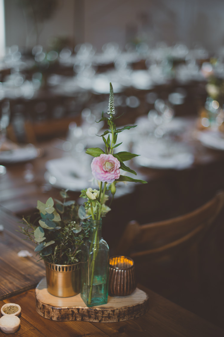 Centrepiece Flowers Log Candles Metallic Urban Industrial Chic Warehouse Wedding http://sashaweddings.co.uk/