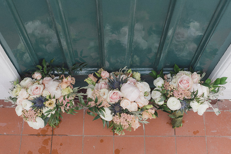 Bouquet Flowers Cream Pink Rose Thistle Peony Ribbon Bride Bridal Relaxed Home Made Love Barn Wedding http://www.rebeccadouglas.co.uk/
