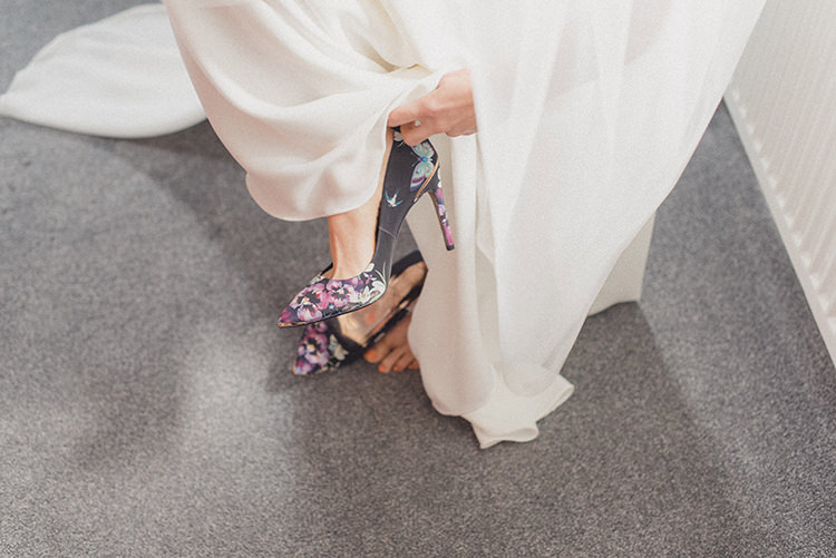 Floral Shoes Heels Bride Bridal Relaxed Home Made Love Barn Wedding http://www.rebeccadouglas.co.uk/