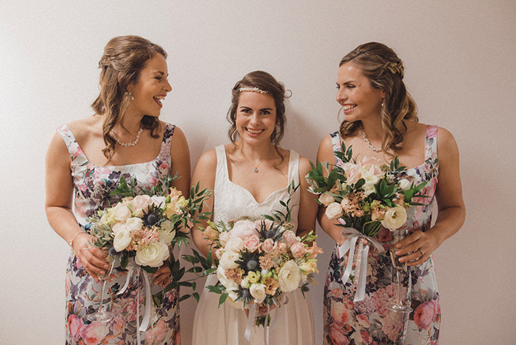 Pink Floral Print Bridesmaid Dresses Relaxed Home Made Love Barn Wedding http://www.rebeccadouglas.co.uk/