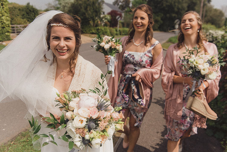 Walking Transport Bride Bridesmaids Relaxed Home Made Love Barn Wedding http://www.rebeccadouglas.co.uk/