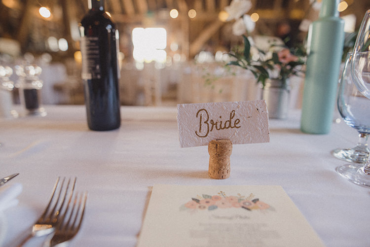 Paper Card Place Name Setting Cork Calligraphy Relaxed Home Made Love Barn Wedding http://www.rebeccadouglas.co.uk/