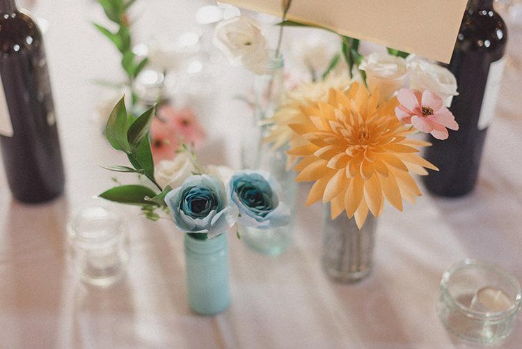 Paper Flowers Centrepiece Vases Bottles Decor Relaxed Home Made Love Barn Wedding http://www.rebeccadouglas.co.uk/