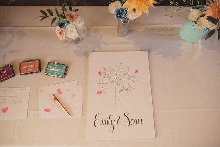 Finger Print Tree Guest Book Relaxed Home Made Love Barn Wedding http://www.rebeccadouglas.co.uk/