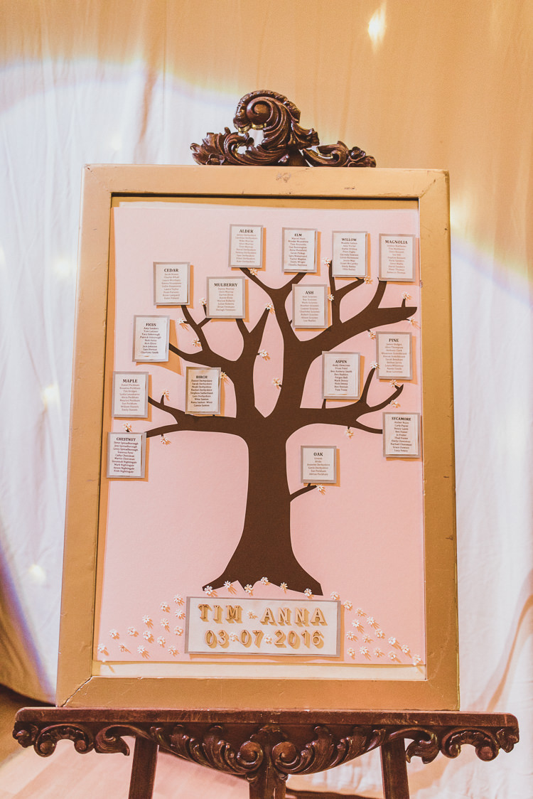 Table Plan Seating Chart Easel Tree Enchanting Woods Inspired Country Wedding http://alexapenberthy.com/